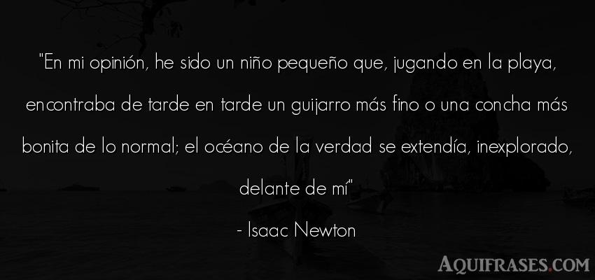 Frase realista  de Isaac Newton. En mi opinión, he sido un