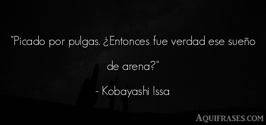 Frase realista  de Kobayashi Issa. Picado por pulgas. ¿