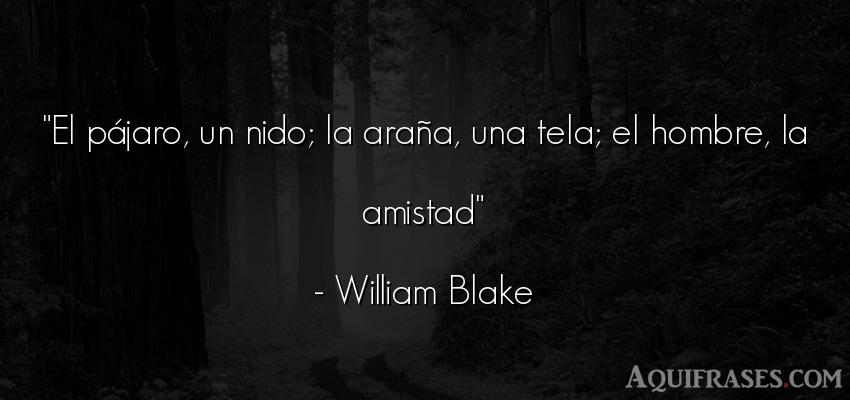 Frase de amistad,  de amistad corta  de William Blake. El pájaro, un nido; la ara