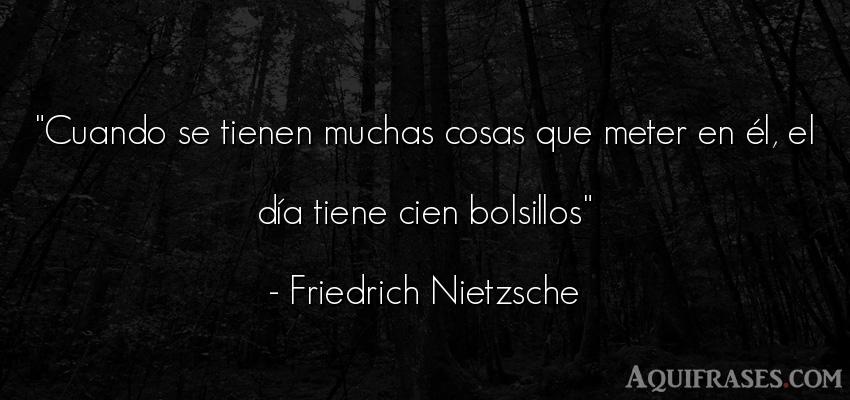 Frase filosófica  de Friedrich Nietzsche. Cuando se tienen muchas