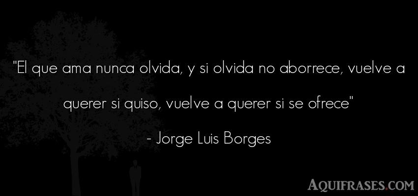 Frase de amor  de Jorge Luis Borges. El que ama nunca olvida, y