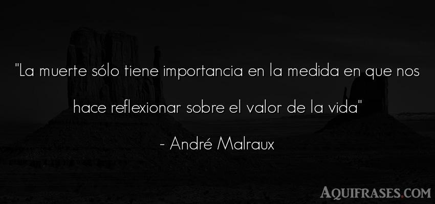 Frase para reflexionar,  de la vida  de André Malraux. La muerte sólo tiene