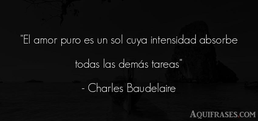 Frase de amor  de Charles Baudelaire. El amor puro es un sol cuya