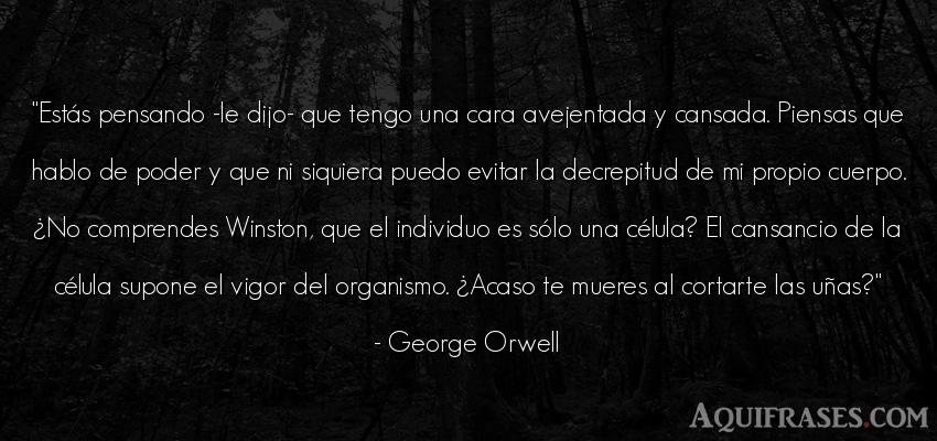 Frase de política  de George Orwell. Estás pensando -le dijo-