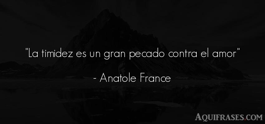 Frase de amor,  de amor corta  de Anatole France. La timidez es un gran pecado