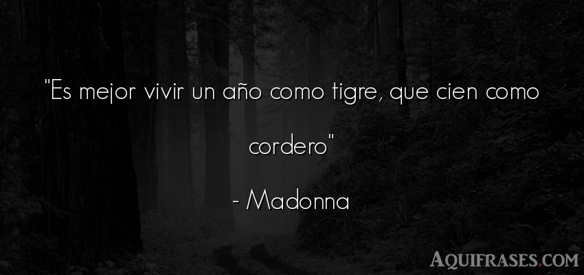 Frase de la vida  de Madonna. Es mejor vivir un año como