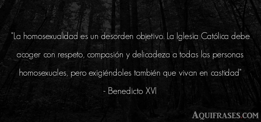 Frase de sociedad  de Benedicto XVI. La homosexualidad es un