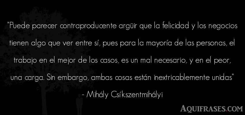 Frase de trabajo,  de sociedad  de Mihály Csíkszentmihályi. Puede parecer