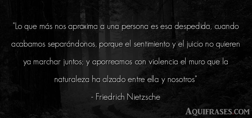 Frase filosófica,  de sociedad  de Friedrich Nietzsche. Lo que más nos aproxima a