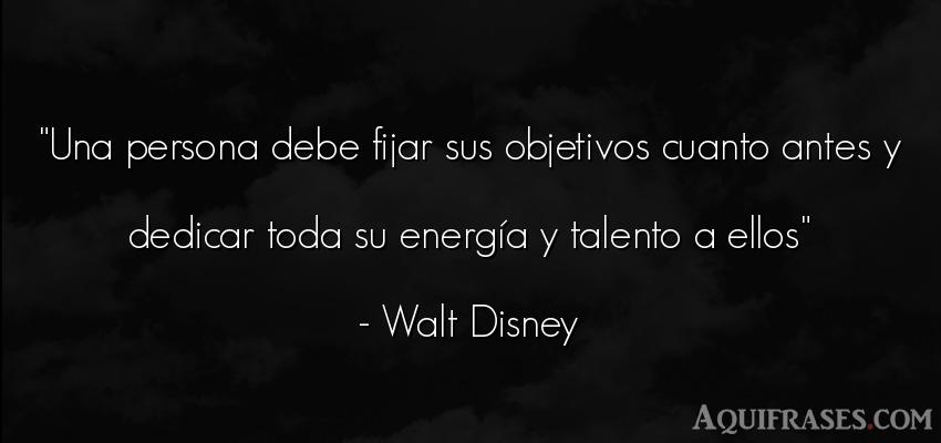 Frase de sociedad  de Walt Disney. Una persona debe fijar sus