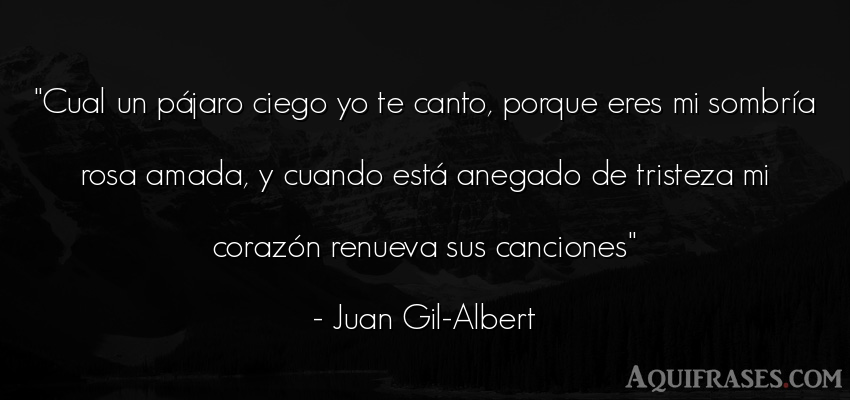 Frase de tristeza  de Juan Gil-Albert. Cual un pájaro ciego yo te