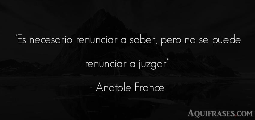 Frase sabia  de Anatole France. Es necesario renunciar a