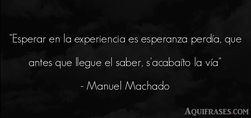 Frase sabia  de Manuel Machado. Esperar en la experiencia es