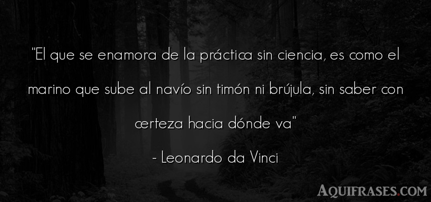 Frase sabia  de Leonardo Da Vinci. El que se enamora de la prá