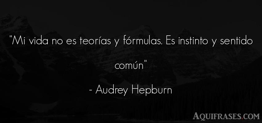 Frase de la vida  de Audrey Hepburn. Mi vida no es teorías y fó
