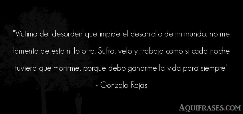 Frase de la vida  de Gonzalo Rojas. Víctima del desorden que