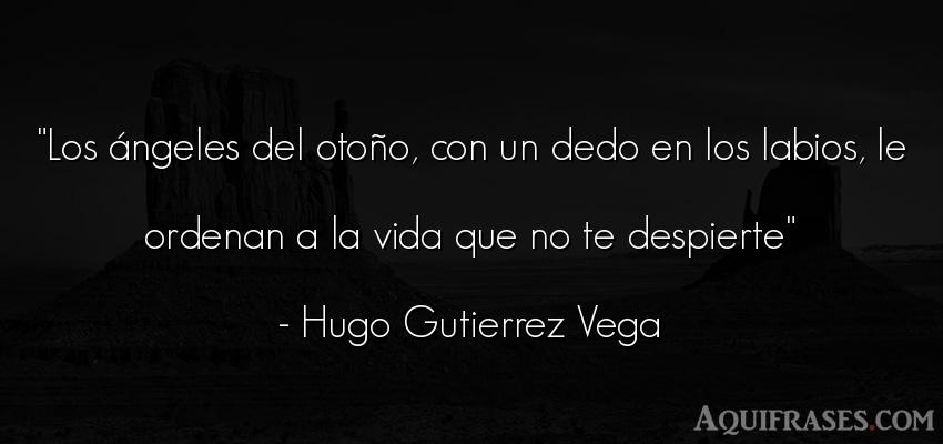 Frase de la vida  de Hugo Gutierrez Vega. Los ángeles del otoño, con