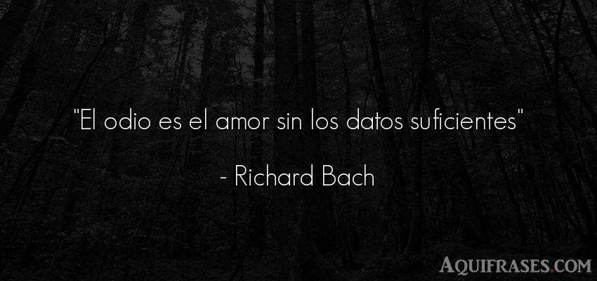 Frase de desamor,  divertida,  graciosas corta,  de desamor corta  de Richard Bach. El odio es el amor sin los