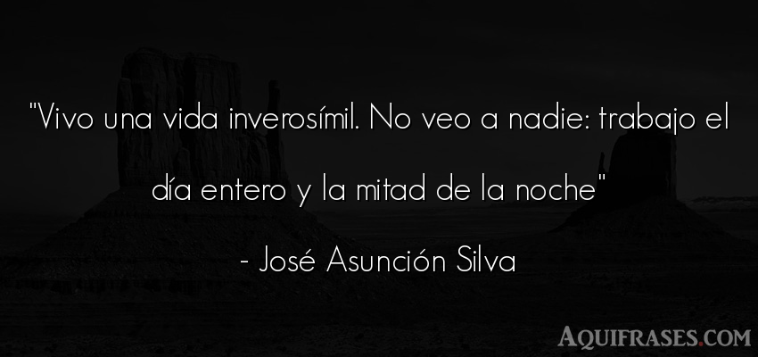 Frase de la vida  de José Asunción Silva. Vivo una vida inverosímil.
