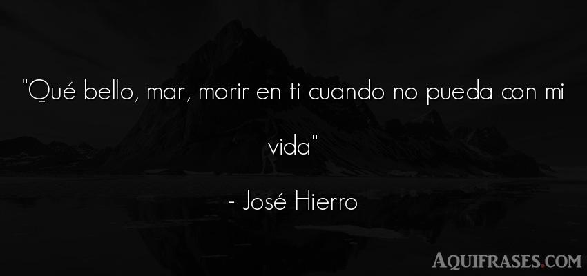 Frase de la vida  de José Hierro. Qué bello, mar, morir en ti