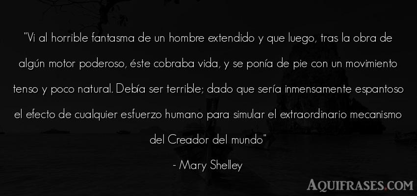 Frase de la vida  de Mary Shelley. Vi al horrible fantasma de