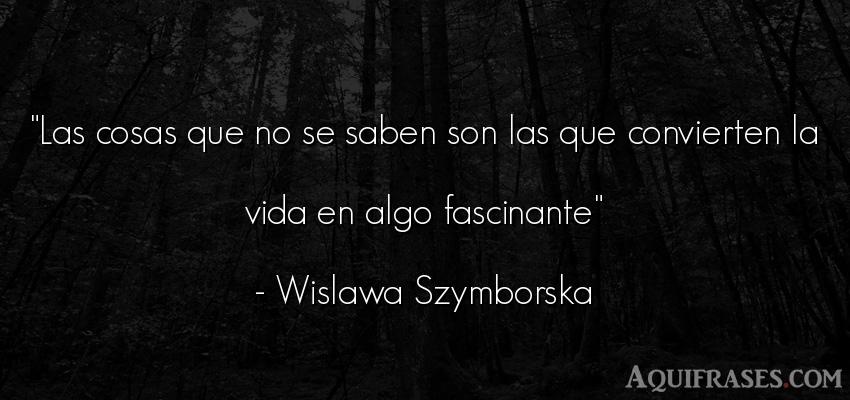 Frase de la vida  de Wislawa Szymborska. Las cosas que no se saben