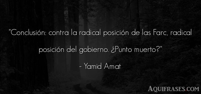 Frase de política  de Yamid Amat. Conclusión: contra la