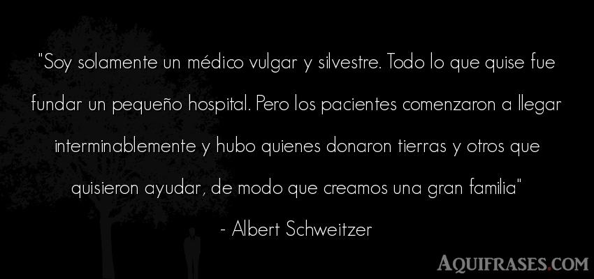 Frase del medio ambiente  de Albert Schweitzer. Soy solamente un médico