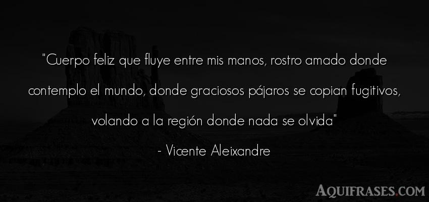 Frase del medio ambiente  de Vicente Aleixandre. Cuerpo feliz que fluye entre