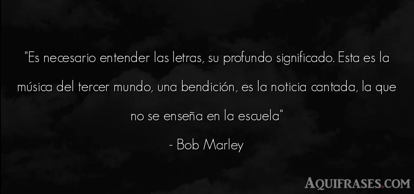Frase del medio ambiente  de Bob Marley. Es necesario entender las