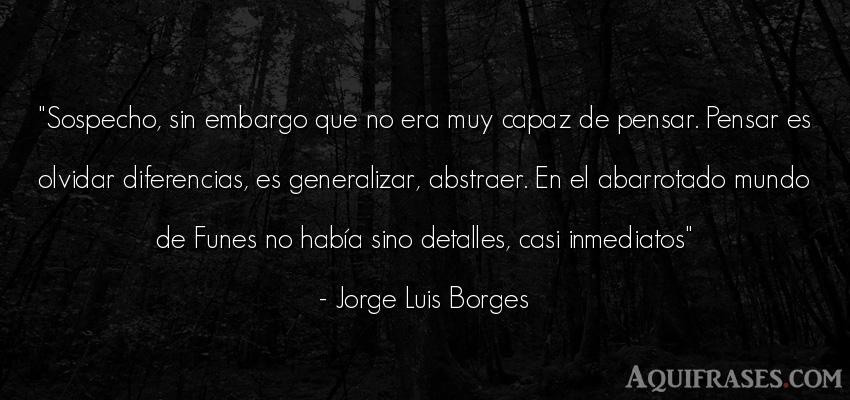 Frase del medio ambiente  de Jorge Luis Borges. Sospecho, sin embargo que no